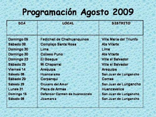 Programación eventos Agosto 2009