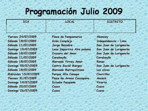 Programación eventos Julio 2009